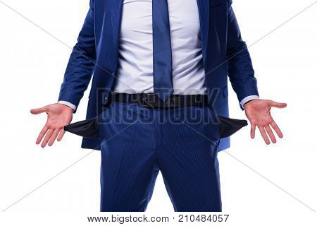 Bankrupt broke businessman isolated on white