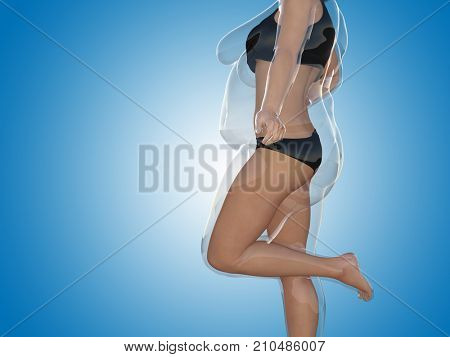 Conceptual fat overweight obese female vs slim fit healthy body after weight loss or diet with muscles thin young woman on blue. A fitness, nutrition or fatness obesity, health shape 3D illustration