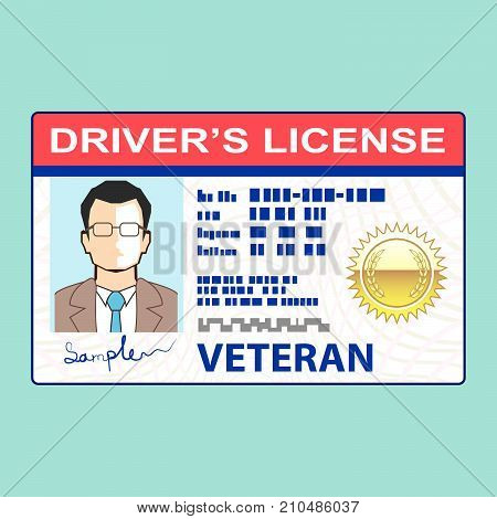 Veteran drivers license illustration clip-art image eps