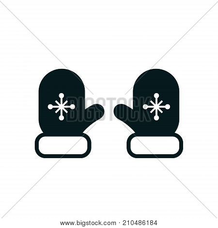 Mittens icon vector illustration. Winter mittens with snowflake element. Simple flat illustration.