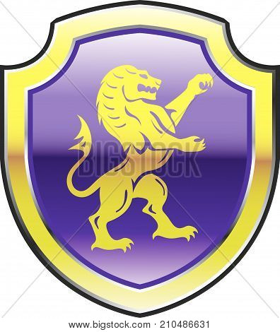 Royal lion golden vector purple shield illustration clip-art image