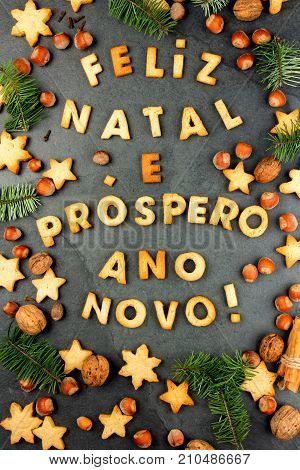 Feliz Natal Cookies. Words Merry Christmas And Happy New Year En Portuguese With Baked Cookies, Chri