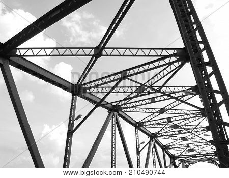 Black and white abstract steel structure of bridge detail