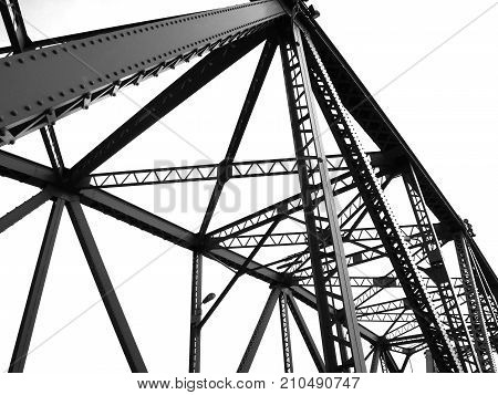 Black and white abstract steel structural of bridge detail