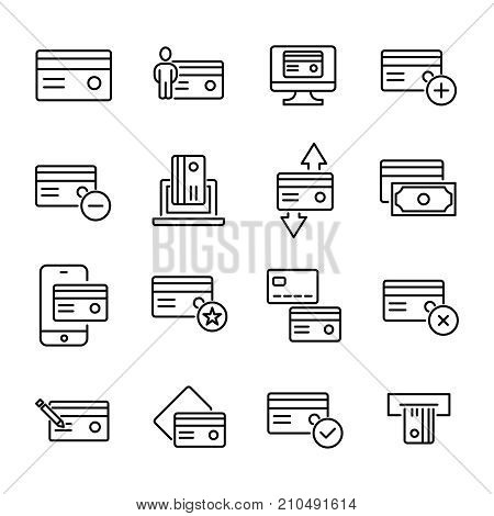 Simple collection of credit card related line icons. Thin line vector set of signs for infographic, logo, app development and website design. Premium symbols isolated on a white background.