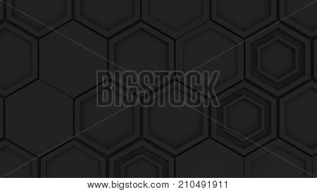 Abstract 3D Background Made Of Black Hexagons