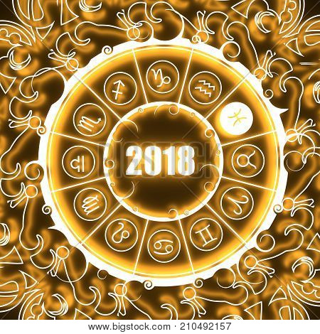 Astrological symbols in the circle. Pisces sign. Celebration card template. Neon shine illumination Zodiac circle with 2018 new year number. 3D rendering