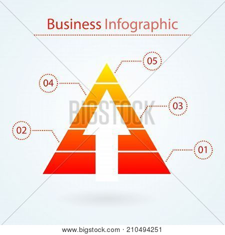 Marketing pyramid with arrow for infographic. Five levels. Business concept. Pyramid chart diagram with numbers. Modern design. Vector illustration isolated on background.