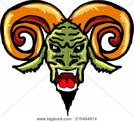 Horned satan beast vector illustration clip-art image eps