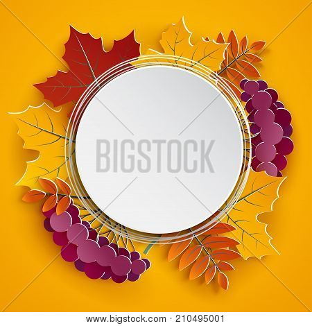Autumn floral paper round frame and colorful tree leaves on yellow background. Autumnal design for fall season greeting card sale banner poster flyer web site paper cut style vector illustration