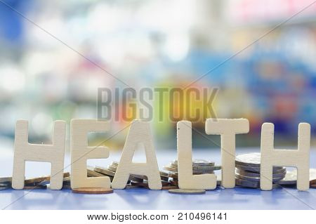 Word HEALTH with blurred and colorful background
