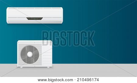Template with air conditioning for advertisement on horizontal long backdrop, 3D illustration with place for text. Icons of realistic white air conditioning, full set of two blocks.