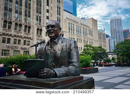 Statue Of Legendary Chicago Broadcaster Jack Brickhouse.