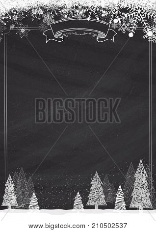 A3 size vertical Cafe menu classic blackboard winter christmas background with snowflake and xmas tree border