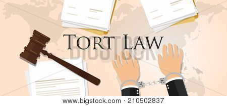 tort law concept of justice hammer gavel judgment process legislation paper document vector