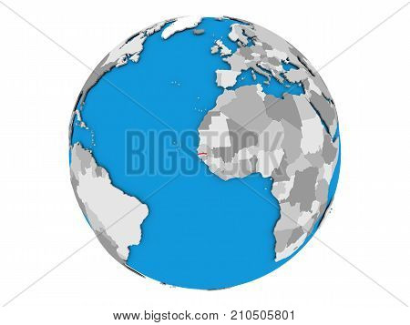Gambia On Globe Isolated