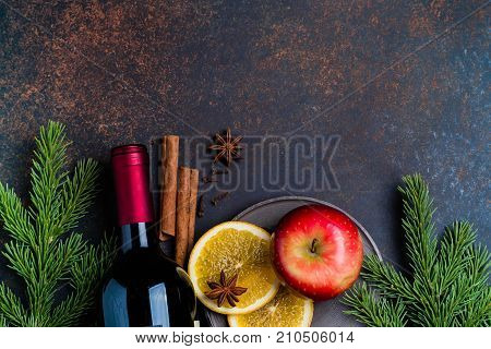 Mulled Wine Recipe Ingredients On Darl Stone Table Background. Christmas Or Winter Warming Drink. Bo