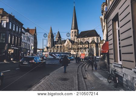 December, 27th, 2016 - Ghent, East Flanders, Belgium. Sint-Jacobs gothic church and christmas decorations in Old town streets. Saint Jacob cathedral is famous historic monument in Gent.