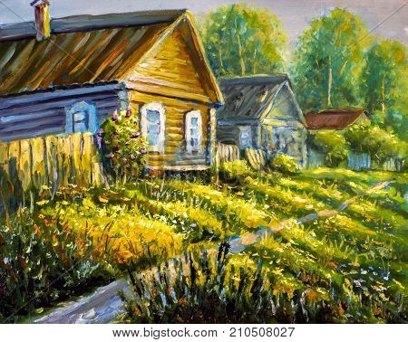 Original oil painting Rural old houses rural landscape on canvas. Beautiful Bright sunny green grass road through the village illustration - Modern impressionism painting.