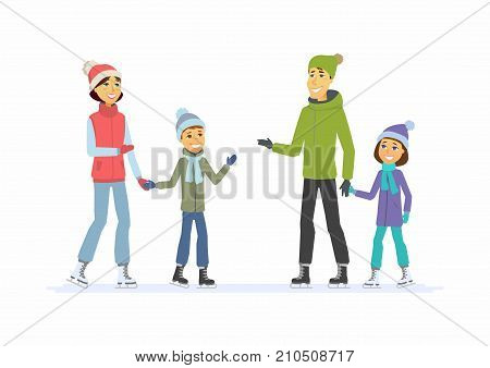 Happy family skating - cartoon people characters illustration on white background. Concept of winter activity, New Year, Christmas, weekend. Smiling mother and father with children on an ice rink
