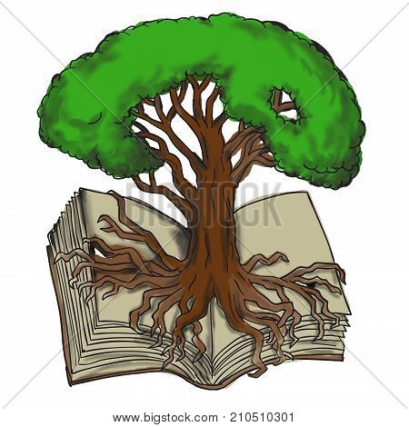 Tattoo style illustration of an Oak tree with roots firmly rooted growing pout of open book.