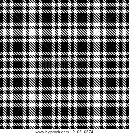 Black And White Tartan Seamless Vector Pattern. Checkered Plaid Texture.