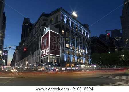 NEW YORK NEW YORK USA - AUGUST 6: Street view of Macy's Department store. Taken August 6 2017 in New York.