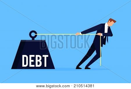 Debtor. Businessman is pulling a huge weight with a debt. Business concept debtor in a flat style. Vector illustration.