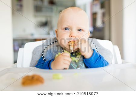 Baby boy eating bread and cucumber with BLW method baby led weaning. Happy vegetarian kid eating lunch. Toddler eat himself self-feeding.