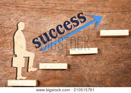 Personal development (personal growth) success progress and potential concepts. Coach (human resources officer supervisor) in background supervise businessman growth. Wooden blocks and businessman