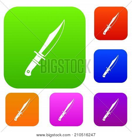 Dagger set icon color in flat style isolated on white. Collection sings vector illustration