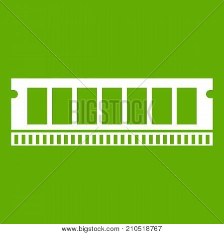 DVD RAM module for the personal computer icon white isolated on green background. Vector illustration