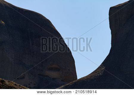 Dramatic view of rocks at the Meteora rock monastery complex in Greece