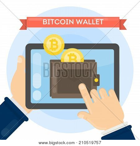 Man with bitcoin wallet on tablet. Virtual wallet with cryptocurrency.