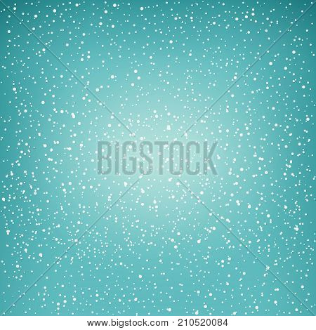 Snowfall, Snow Falls from the Sky, White Snowflakes on Green Background, Vector Illustration