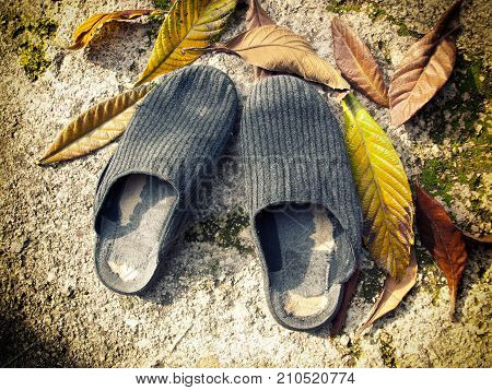 Conceptual representation of the elderly with worn slippers and autumn leaves.