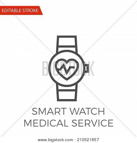 Smart Watch Medical Service Thin Line Vector Icon. Flat Icon Isolated on the White Background. Editable Stroke EPS file. Vector illustration.