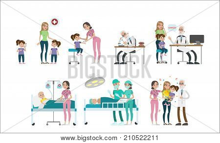 Girl with cancer set. Illness and examination, medical treatment and conclusion.