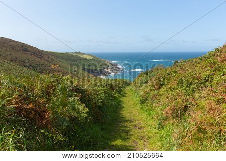 South west coast path towards Portheras Cove Cornwall located South West of St Ives between Pendeen and Morvah