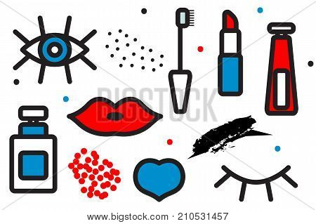 Seamless pattern of cosmetics. Background makeup. Eyelashes, lips, mascara. Stock vector