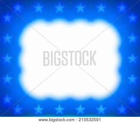 Blue stars and white cloud border frame background