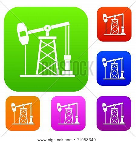 Oil derrick set icon color in flat style isolated on white. Collection sings vector illustration