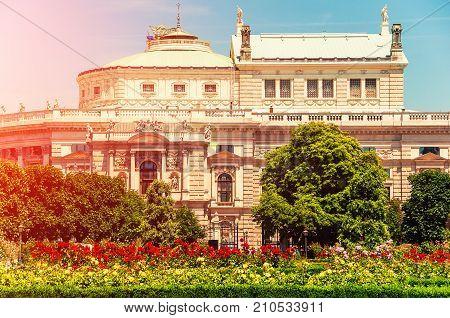 Vienna Austria. Voksgarte park of Vienn. View to Burgtheater. Theater an der Burg. German language theatres