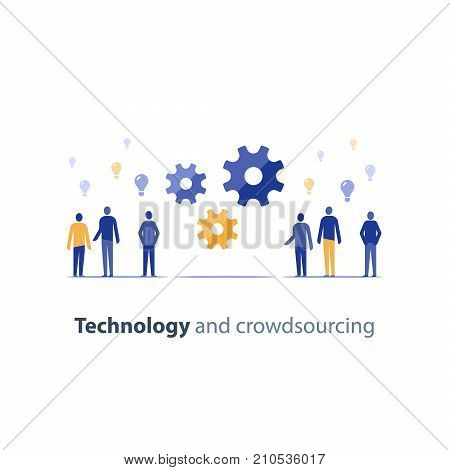Open source concept, crowd sourcing, innovation technology, tech people meeting, business integration, idea exchange forum, design thinking people, vector icon, flat illustration