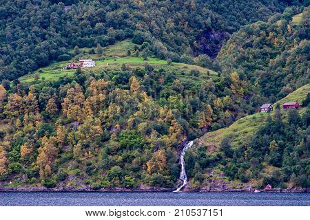 Geiranger fjord Beautiful Nature Norway. It is a 15-kilometre (9.3 mi) long branch off of the Sunnylvsfjorden which is a branch off of the Storfjorden (Great Fjord).