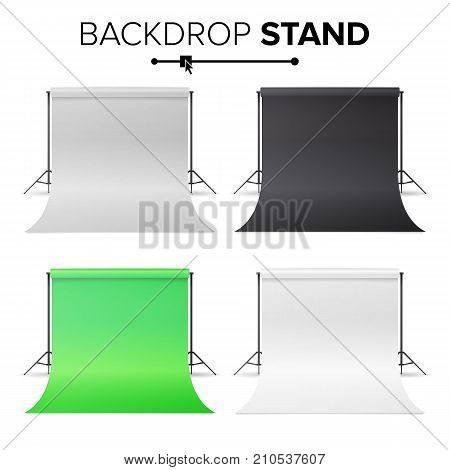 Photo Studio Hromakey Set Vector. Modern Photo Studio. Black, White, Green Backdrop Stand Tripods. Realistic 3D Template Mock Up. Isolated