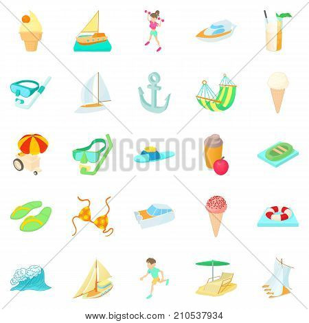 Resort icons set. Cartoon set of 25 resort vector icons for web isolated on white background