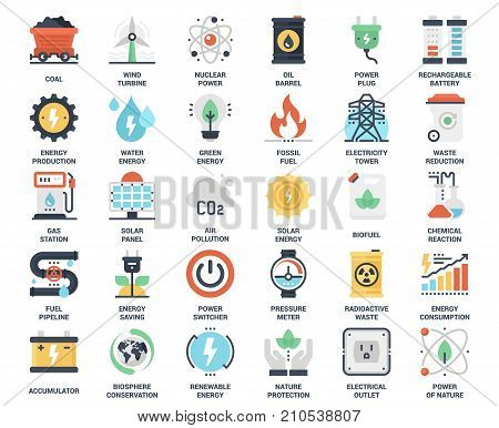Vector set of power and energy flat web icons. Each icon neatly designed on pixel perfect 48X48 size grid. Fully editable and easy to use.