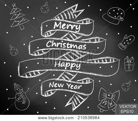 Happy New Year and Merry Christmas. On the chalkboard. Card. For your design.