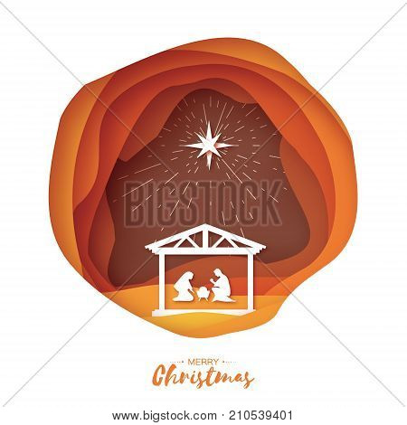 Birth of Christ. Baby Jesus in the manger. Holy Family. Magi. S Star of Bethlehem - east comet. Nativity Christmas graphics design in paper cut style. Vector illustration.